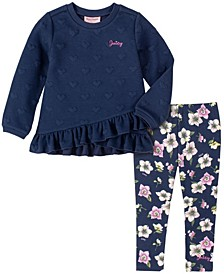 Little Girls Heart Print Tunic and Floral Print Legging Set