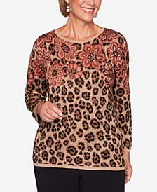Women's Missy Catwalk Floral Animal Print Jacquard Sweater