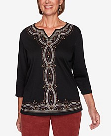 Women's Missy Catwalk Embroidered Center Knit Top