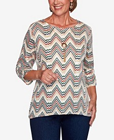 Women's Missy Hunter Mountain Chevron Textured Top with Necklace
