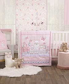 Infant Girl's Sweet Llama and Butterflies Crib Bedding Set, 3 Piece