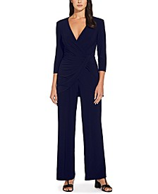 Draped-Front Wide-Leg Jumpsuit