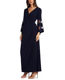 Petite Illusion-Sleeve Dress