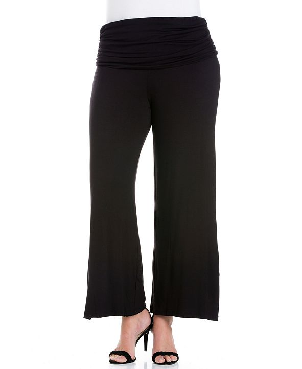 24seven Comfort Apparel Women's Plus Size Foldover Palazzo Pants