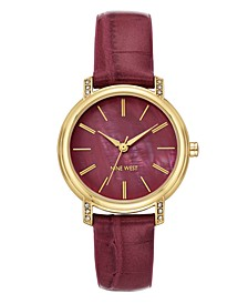 Women's Crystal Accented Gold-Tone and Mauve Croco-Grain Strap Watch, 35mm