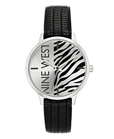 Women's Silver-Tone and Black Textured Strap Watch, 36.5mm