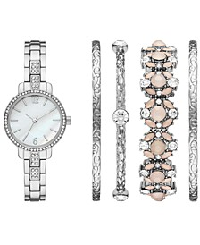 Women's Silver-Tone Stainless Steel Bracelet Watch 28mm Gift Set