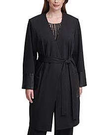 Plus Size Faux-Leather-Pocket Topper Jacket