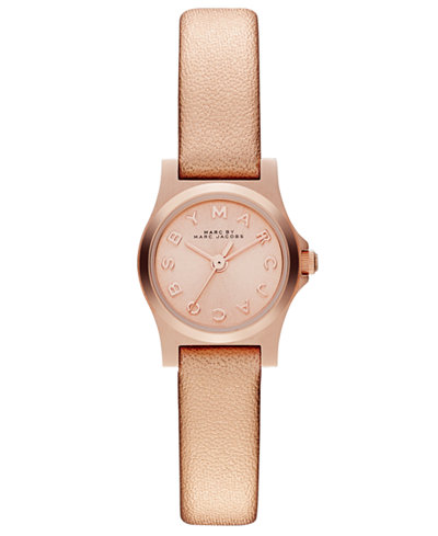 Marc by Marc Jacobs Women's Henry Dinky Rose Leather Strap Watch 21mm MBM1298