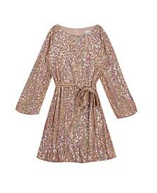 Big Girl Sequin Knit Long Sleeve Dress With Sash