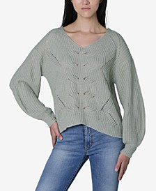 Juniors' Mixed-Stitch Lattice Sweater