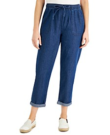 Cotton Cuffed Pull-On Denim Capri Pants, Created for Macy's