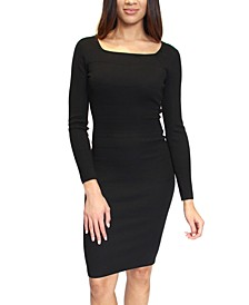 Juniors' Square-Neck Midi Sweater Dress