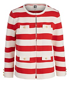 Block-Stripe Sweater Jacket