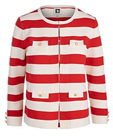 Anne Klein Block-Stripe Sweater Jacket