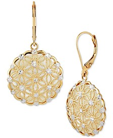Mother-of-Pearl Filigree Disc Drop Earrings in 14k Gold (Also in Onyx and Jade)