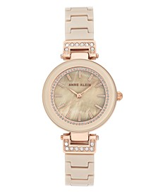 Women's Tan Ceramic and Mixed Metal Bracelet Watch 30mm