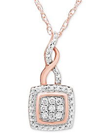 "Diamond Twist 18"" Pendant Necklace (1/10 ct. t.w.) in 10k Rose Gold"