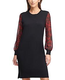 Printed-Sleeve Crewneck Sweater Dress