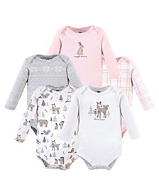 Baby Boys and Girls 5 Piece Cotton Long-Sleeve Bodysuits