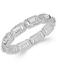 Charter Club Silver-Tone Crystal Baguette Stretch Bracelet