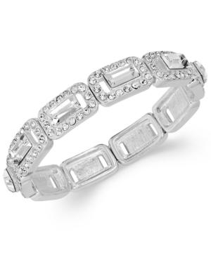 Charter Club Silver-Tone Crystal Baguette Stretch Bracelet