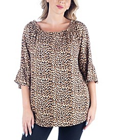 Women's Plus Size Elastic Neckline Tunic Top