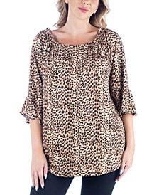 Women's Plus Size Elastic Neckline Tunic Top