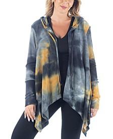 Women's Plus Size Tie Dye Print Maternity Hooded Cardigan