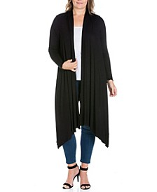 Women's Plus Size Extra Long Open Front Cardigan