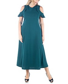 Women's Plus Size Ruffle Cold Shoulder Maxi Dress