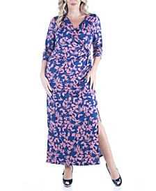 Women's Plus Size Floral Print Side Slit Maxi Dress
