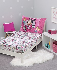Toddler Girl's Minnie Mouse Sheet Set with Fitted Crib Sheet and Pillowcase, 2 Piece