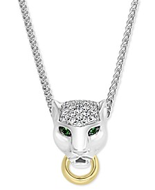 EFFY® Diamond (1/8 ct. t.w.) & Tsavorite Accent Panther Pendant Necklace in Sterling Silver & 18k Gold-Plate