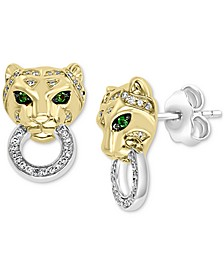 EFFY® Diamond (1/5 ct. t.w.) & Tsavorite Accent Panther Doorknocker Drop Earrings in 14k Gold-Plated Sterling Silver