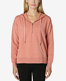 Juniors' Oversized Quarter-Zip Hoodie