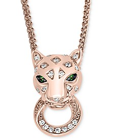 "EFFY® Diamond (1/6 ct. t.w.) & Tsavorite Accent Panther 18"" Pendant Necklace in 14k Rose Gold-Plated Sterling Silver"