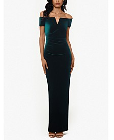 Petite Off-The-Shoulder Velvet Gown