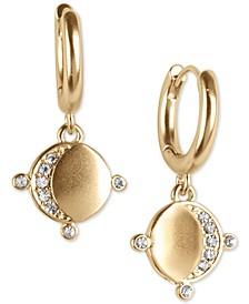 Gold-Tone Pavé Moon Charm Huggie Hoop Earrings