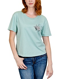 Juniors' Rose Back Graphic T-Shirt