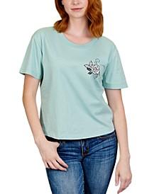 Juniors' Rose Back Graphic T-Shirt