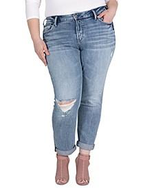 Plus Size Mid-Rise Boyfriend Jeans