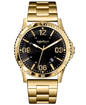 Caravelle New York by Bulova Men's Gold-Tone Stainless Steel Bracelet Watch 44mm 44B104