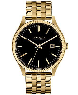 Caravelle New York by Bulova Men's Gold-Tone Stainless Steel Bracelet Watch 41mm 44B105