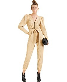 CULPOS X INC Puff-Sleeve Faux-Leather Jumpsuit, Created for Macy's