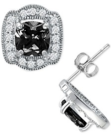 Cubic Zirconia Halo Stud Earrings in Sterling Silver, Created for Macy's