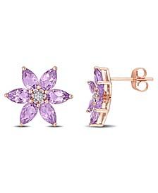 Amethyst and Diamond Floral Stud Earrings