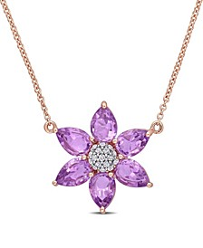 Amethyst and Diamond Floral Necklace