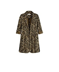 Women's Plus Size 3/4 Sleeve Animal Print Duster Cardigan