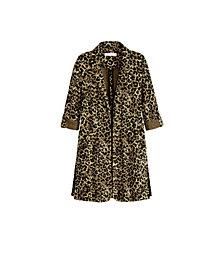 Women's Plus Size 3/4 Sleeve Animal Print Duster Cardigan